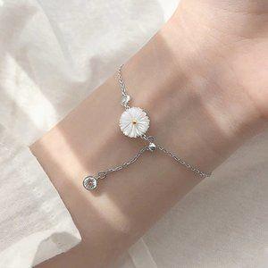 NEW 925 Sterling Silver Shell Daisy Bracelet